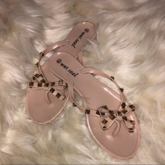 Wet Seal Shoes - Women's Flip Flops With Studded Bow
